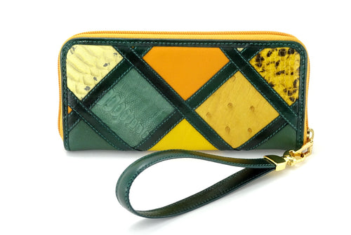 Michaela Green & gold patchwork leather zip around purse view one