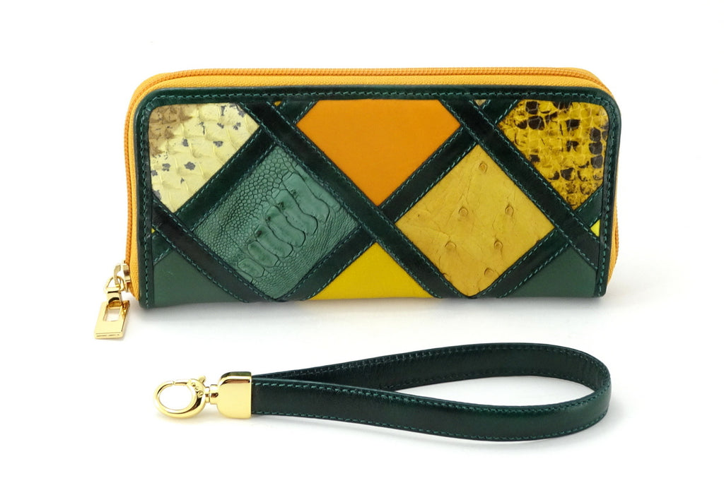 Michaela Green & gold patchwork leather zip around purse view side two