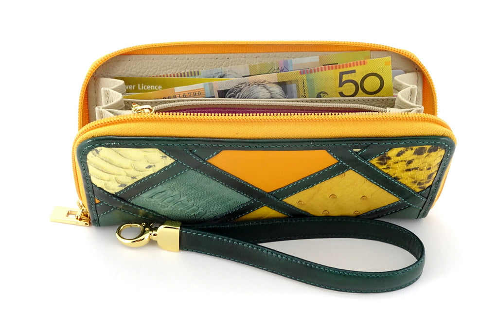 Michaela Green & gold patchwork leather zip around purse top view