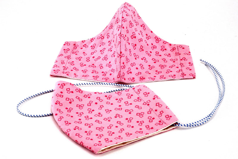 Fabric cloth cotton face mask basic model Pink square print