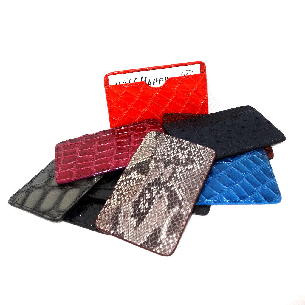 Card Holder  Flat style business or credit cards leather variety of skins