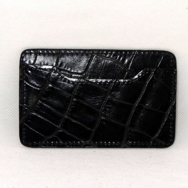 Card Holder  Flat style business or credit cards black crocodile printed leather