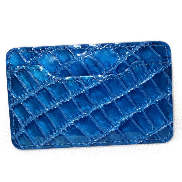 Card Holder  Flat style business or credit cards blue foil printed leather