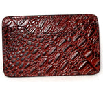 Card Holder  Flat style business or credit cards brown crocodile printed leather