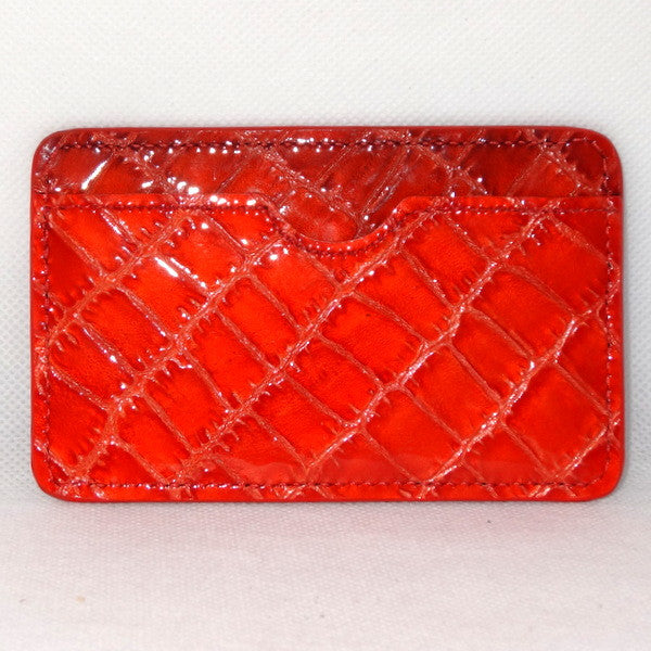 Card Holder  Flat style business or credit cards orange foil printed leather