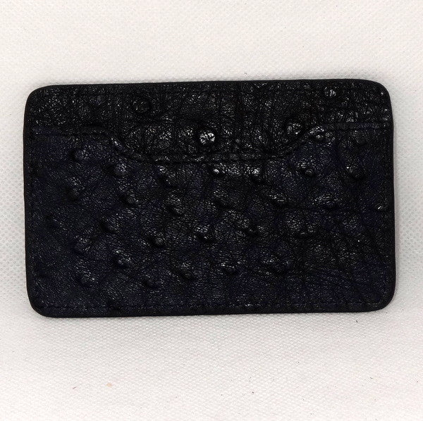 Card Holder  Flat style business or credit cards black ostrich leather
