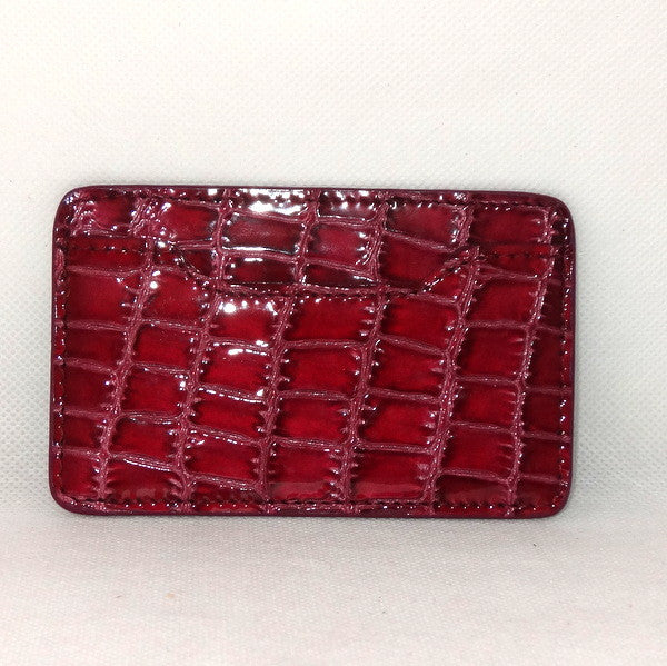 Card Holder  Flat style business or credit cards cherry foil printed leather