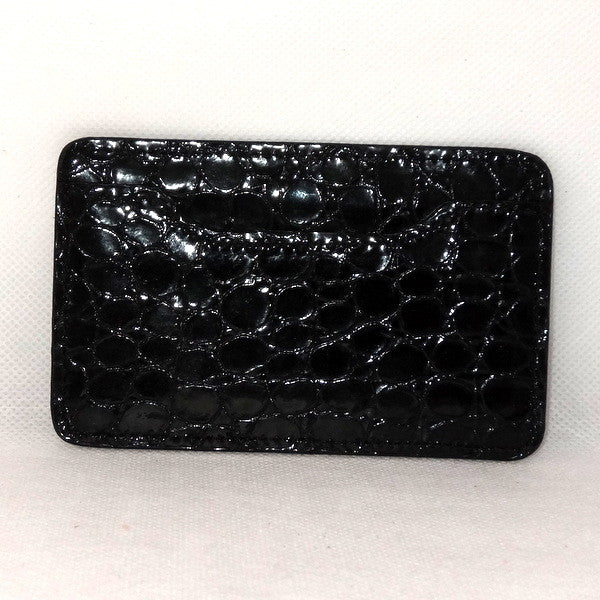 Card Holder  Flat style business or credit cards black foil printed leather