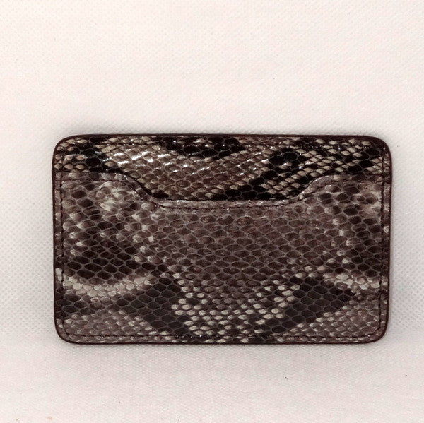 Card Holder  Flat style business or credit cards grey snake printed leather
