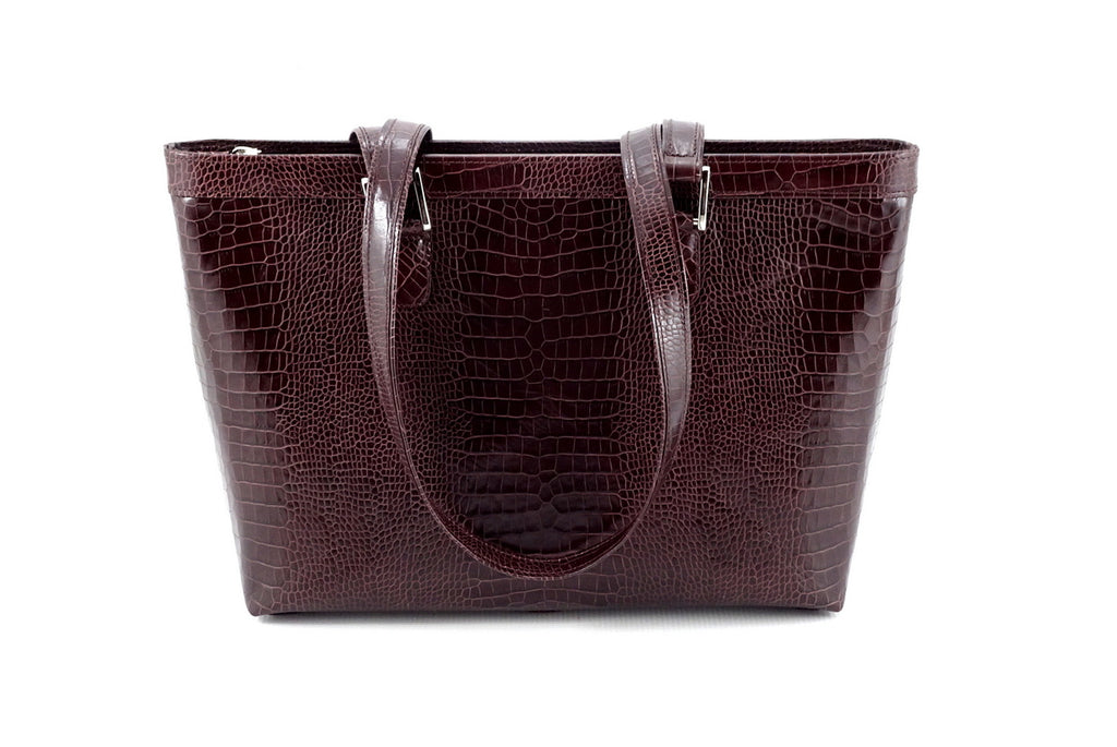 Emily  Medium burgundy crocodile printed leather tote bag view side two