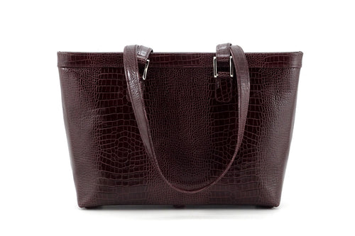 Emily  Medium burgundy crocodile printed leather tote bag view side one