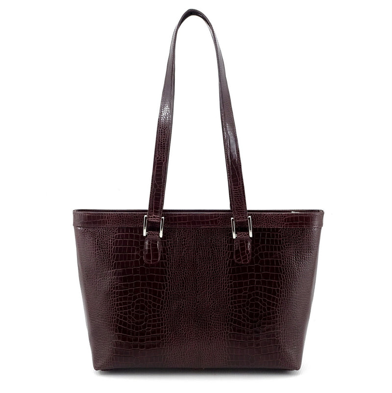 Emily  Medium burgundy crocodile printed leather tote bag shoulder straps up