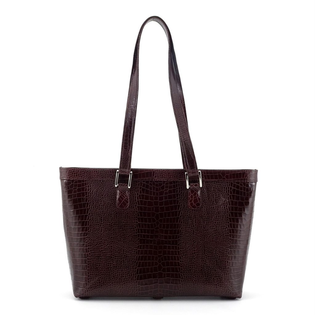 Emily  Medium burgundy crocodile printed leather tote bag showing shoulder straps up