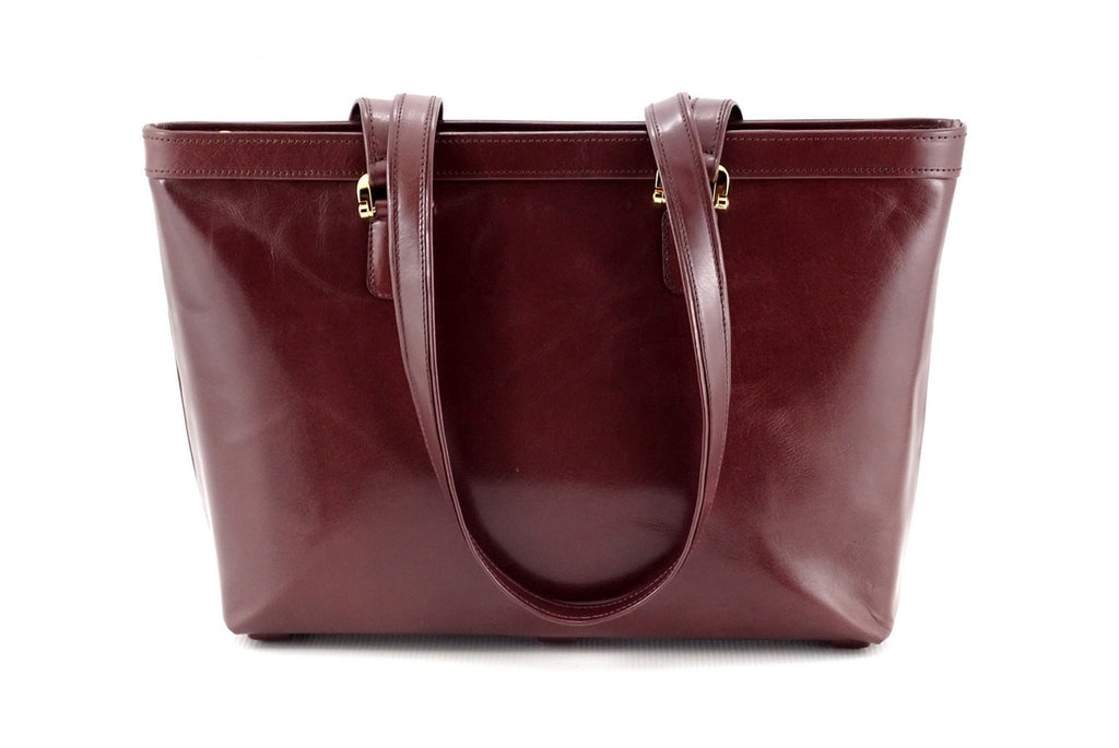 Emily  Medium brown smooth finish leather tote bag view side one