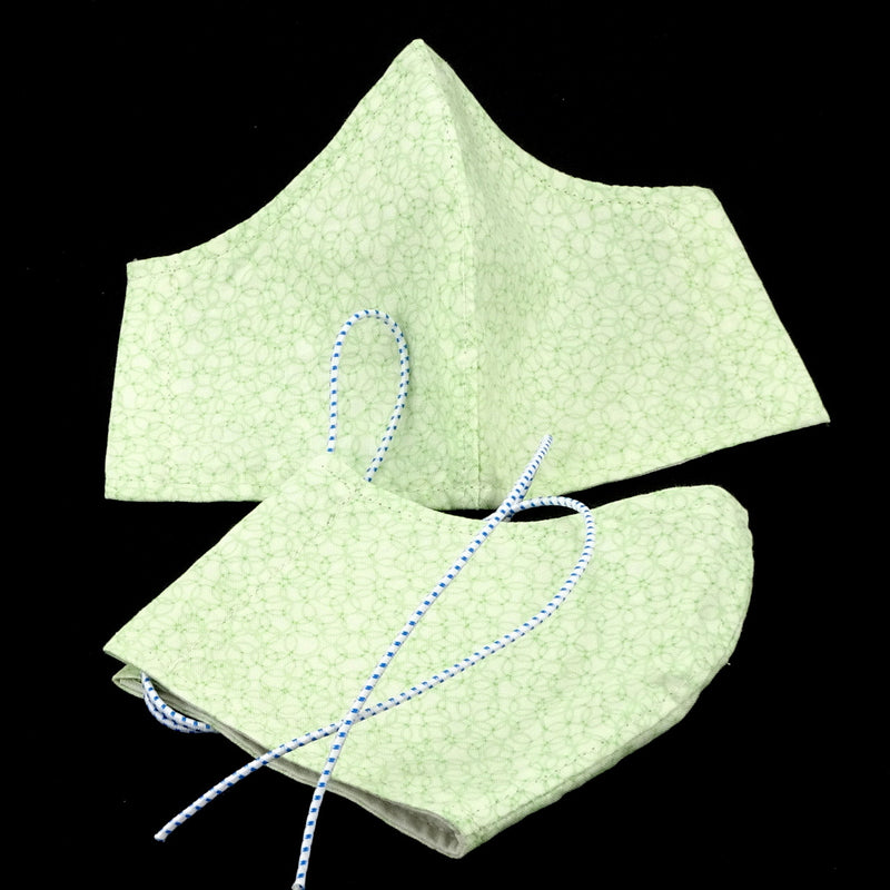 Face Mask - Washable cotton cloth with filter pocket model - green swirl print