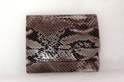 Dorothy  Trifold purse - grey snake print leather ladies wallet front view