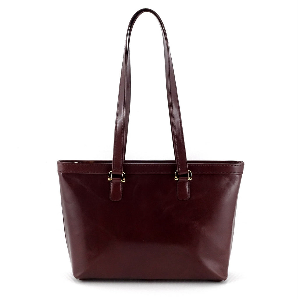 Emily  Medium brown smooth finish leather tote bag showing shoulder straps up