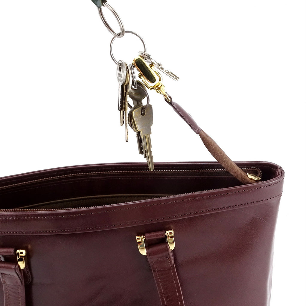 Emily  Medium brown smooth finish leather tote bag showing key holder
