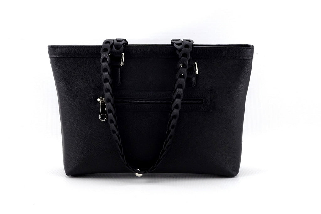 Emily  Medium black leather tote bag with front zip pocket front view