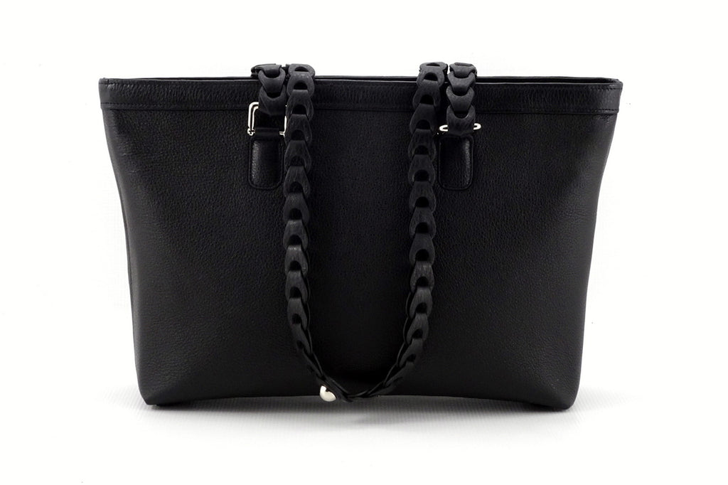 Emily  Medium black leather tote bag with front zip pocket back view