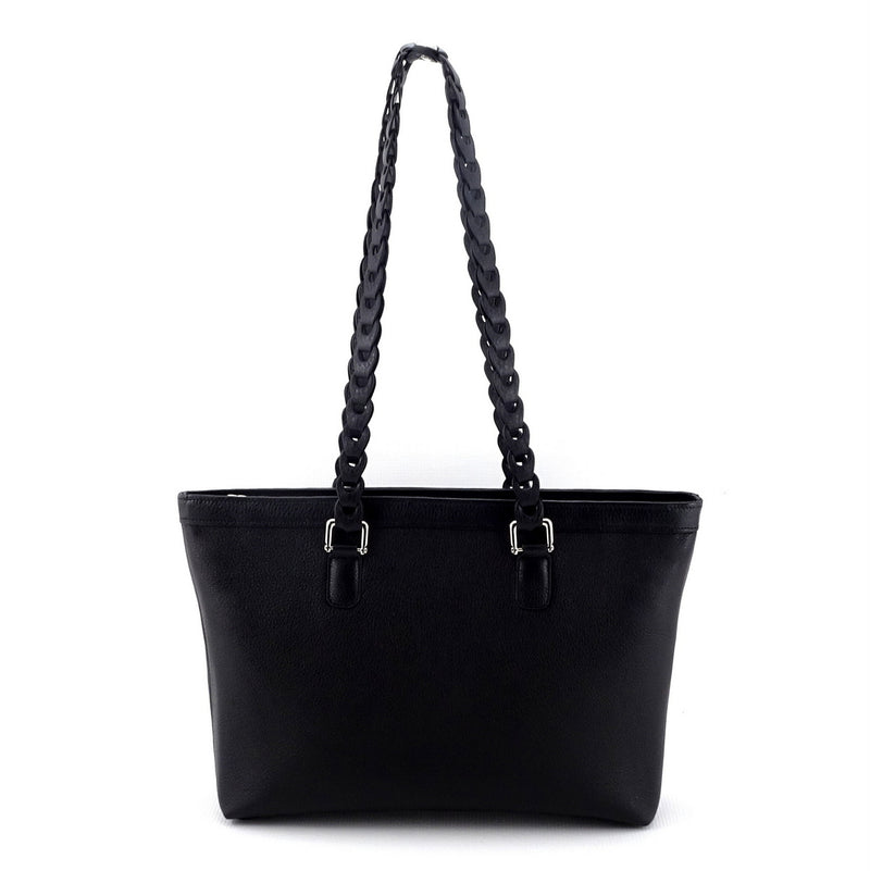 Emily  Medium black leather tote bag with front zip pocket back view shoulder straps up