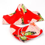 Face Mask - Washable cotton cloth with filter pocket model - red butterflies