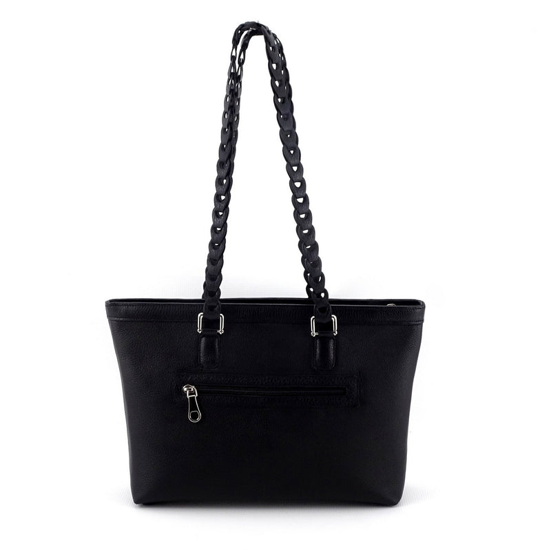 Emily  Medium black leather tote bag with front zip pocket front view shoulder straps up