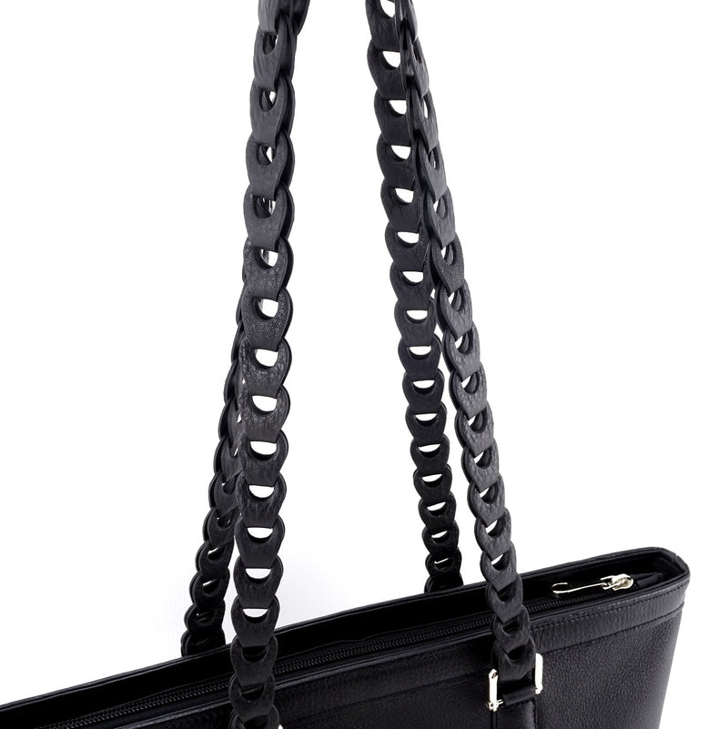 Emily  Medium black leather tote bag with front zip pocket showing leather chain link shoulder strap