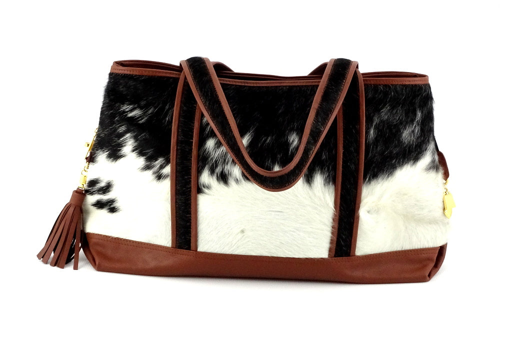 Felicity  Black & White hair on cow hide rust leather large tote bag