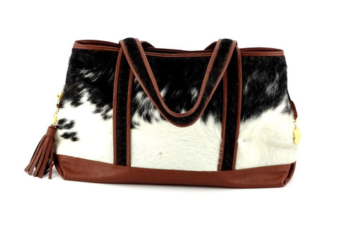 Felicity  Black & White hair on cow hide dark brown leather tote bag