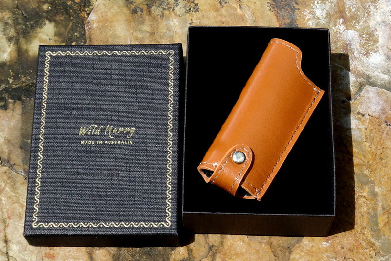 Lighter cover Printed leather shown boxed