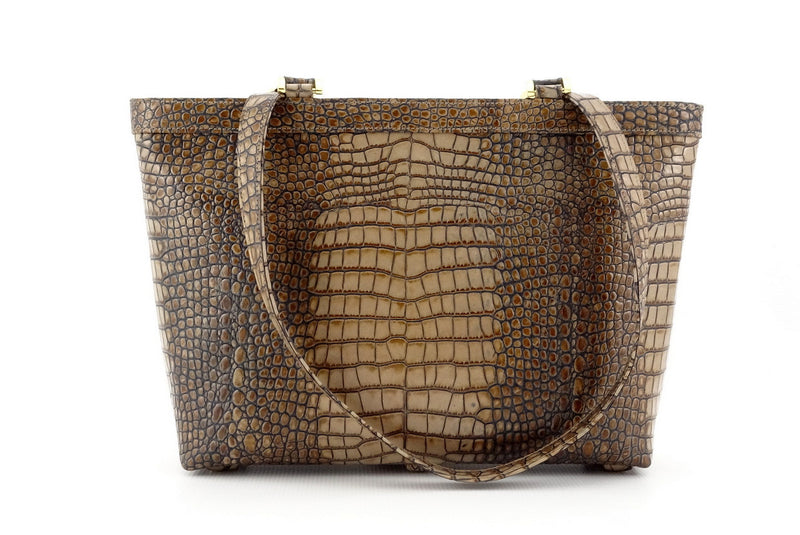 Emily  Medium leather tote bag in a grey crocodile print front handles down