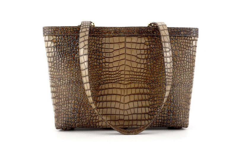 Emily  Medium leather tote bag in a grey crocodile print back handles down