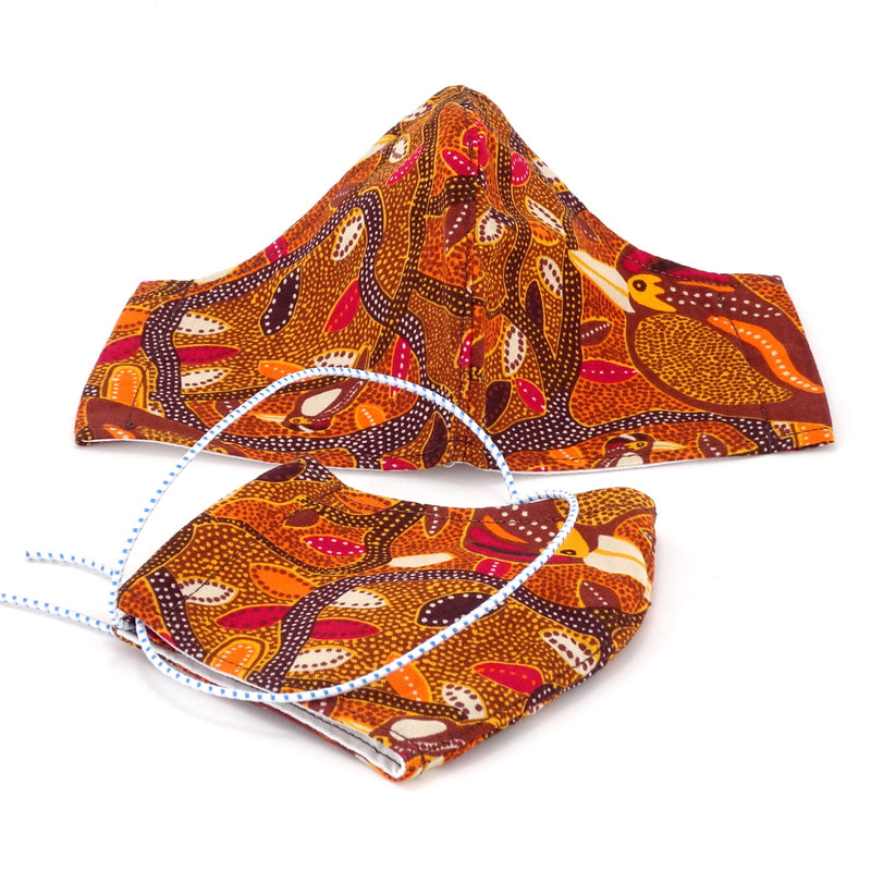 Face Mask - Washable cotton cloth standard model - orange Kookaburra aboriginal print