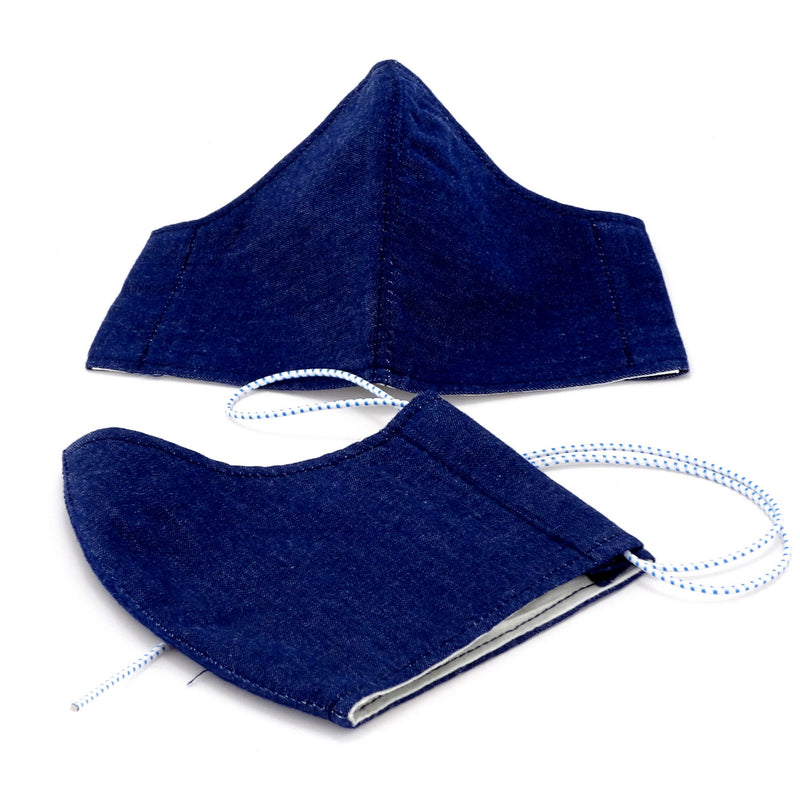 Face Mask - Washable cotton cloth with filter pocket model - denim fabric