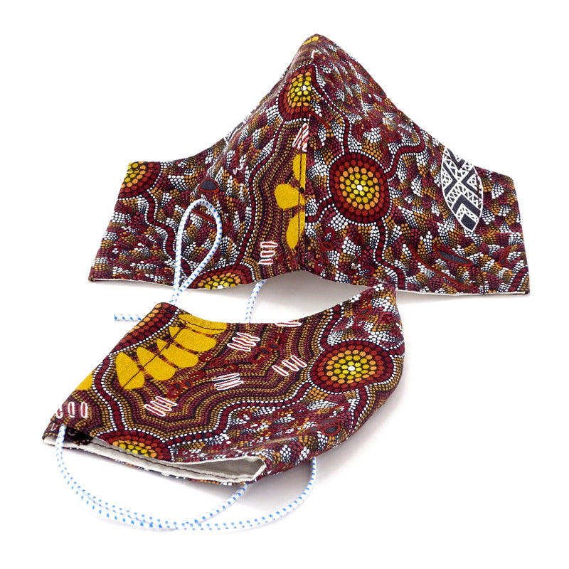 Face Mask - Washable cotton cloth with filter pocket model - Aboriginal print