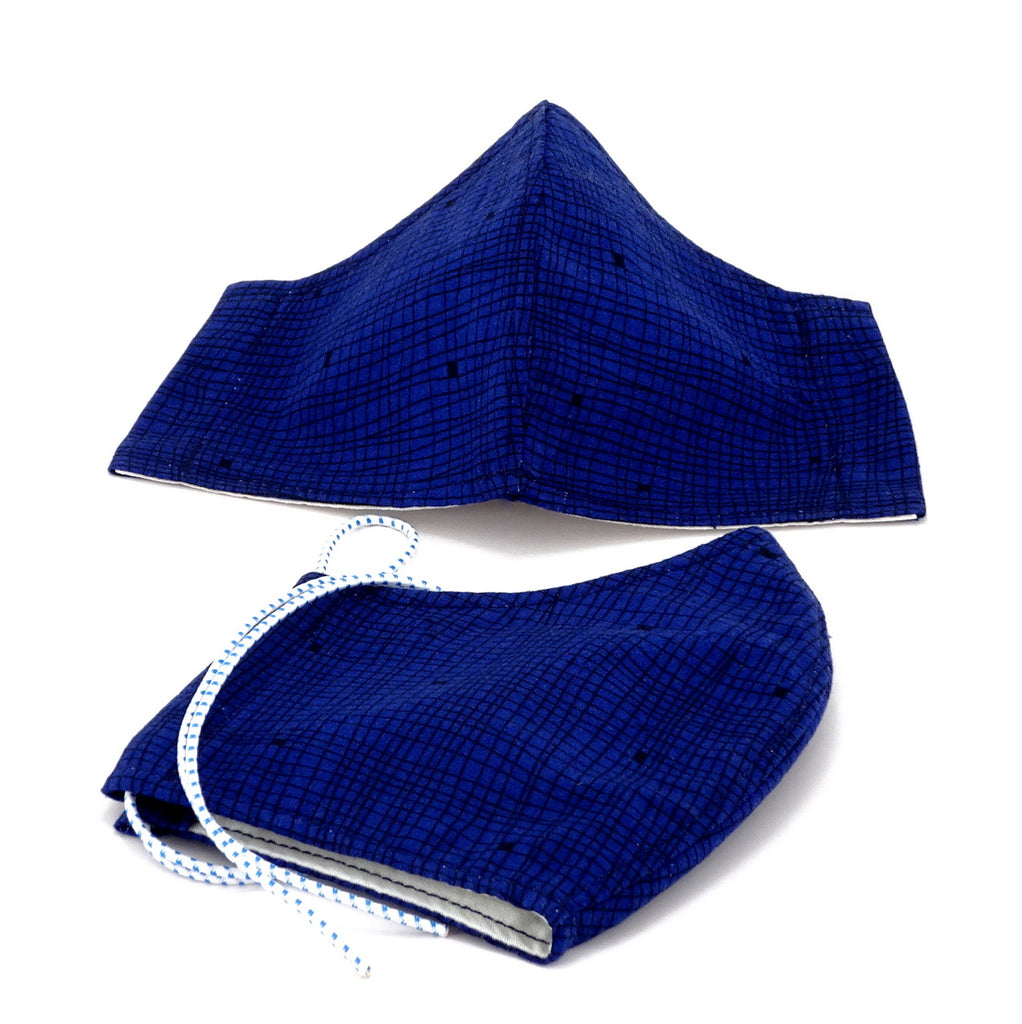Face mask stitched standard cloth reusable blue check