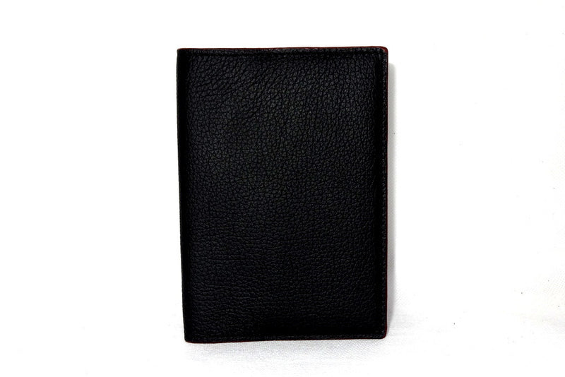 Passport-Holder - Black leather with burgundy lining front