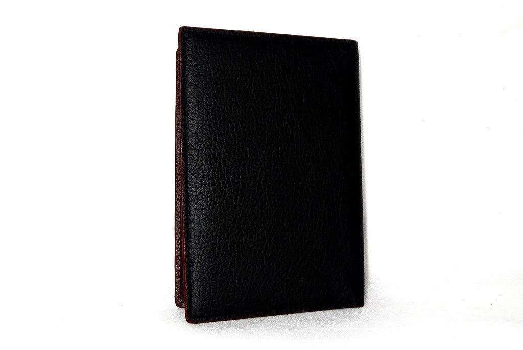 Passport-Holder - Black leather with burgundy lining back