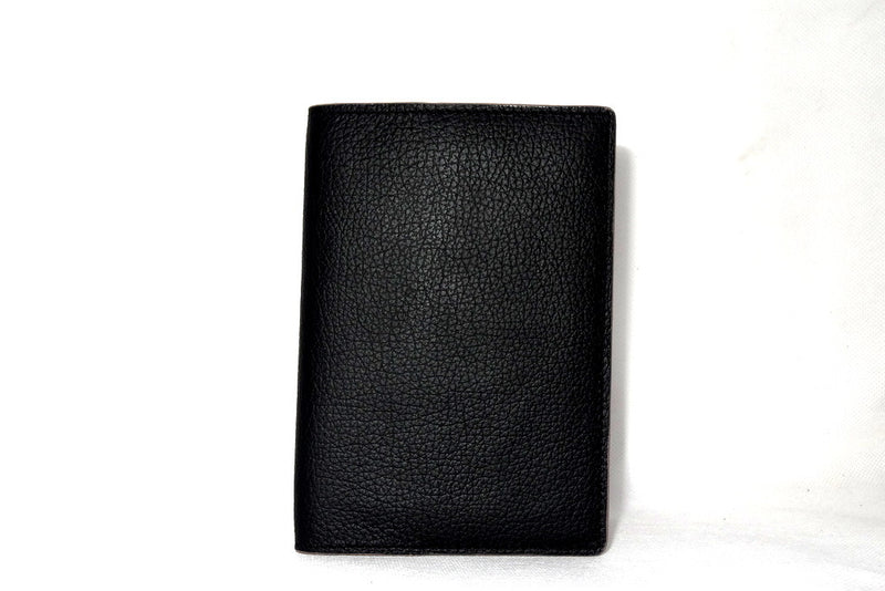 Passport Holder - Black leather with cream lining front