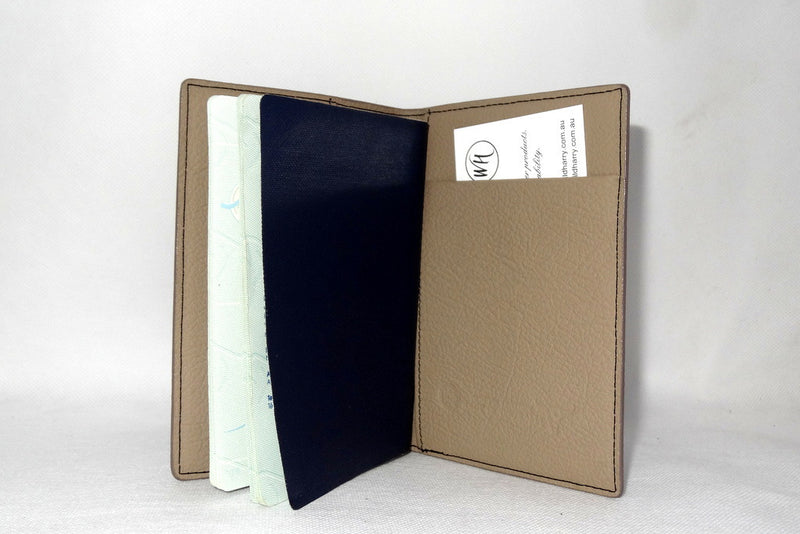 Passport Holder - Black leather with cream lining inside side 2 Australian passport shown
