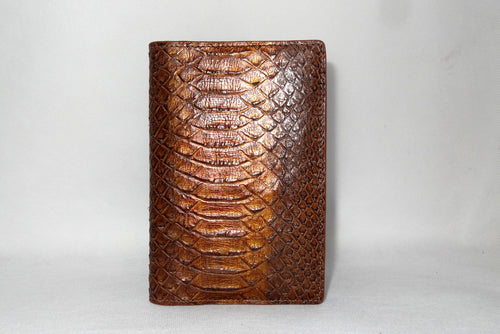 Passport Holder - Copper snake print leather front