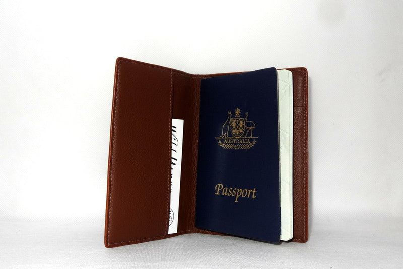 Passport Holder - Copper snake print leather left inside pocket Australian passport