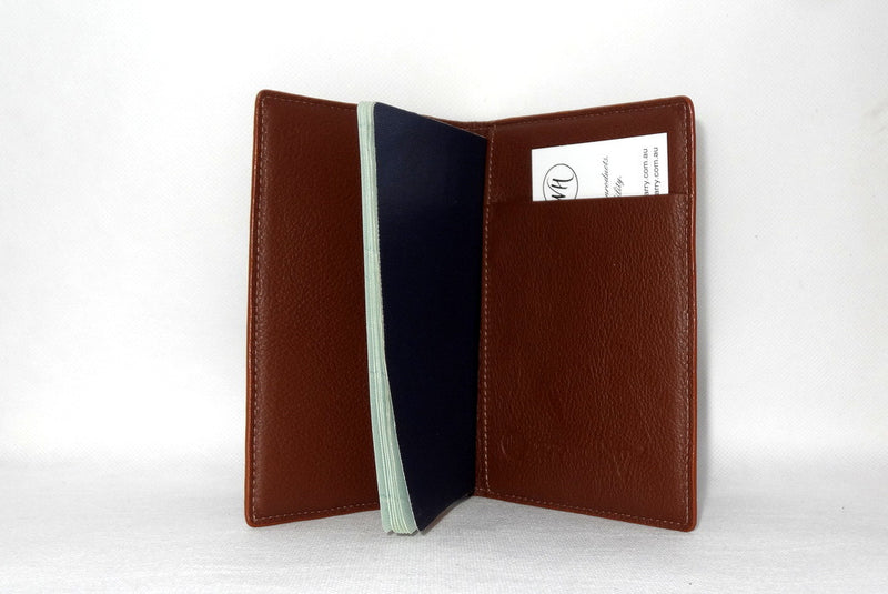 Passport Holder - Copper snake print leather right inside pocket