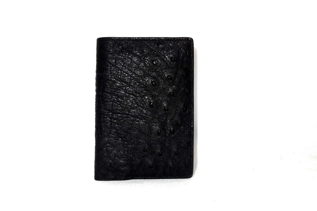 Passport Holder - Black ostrich leather front