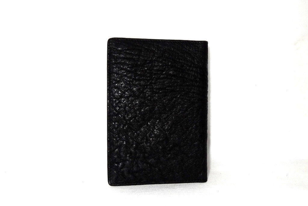 Passport Holder - Black ostrich leather back