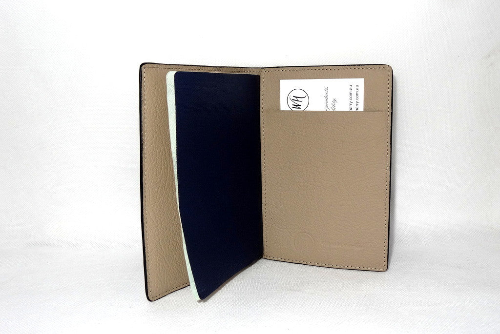 Passport Holder - Black ostrich leather right inside pocket