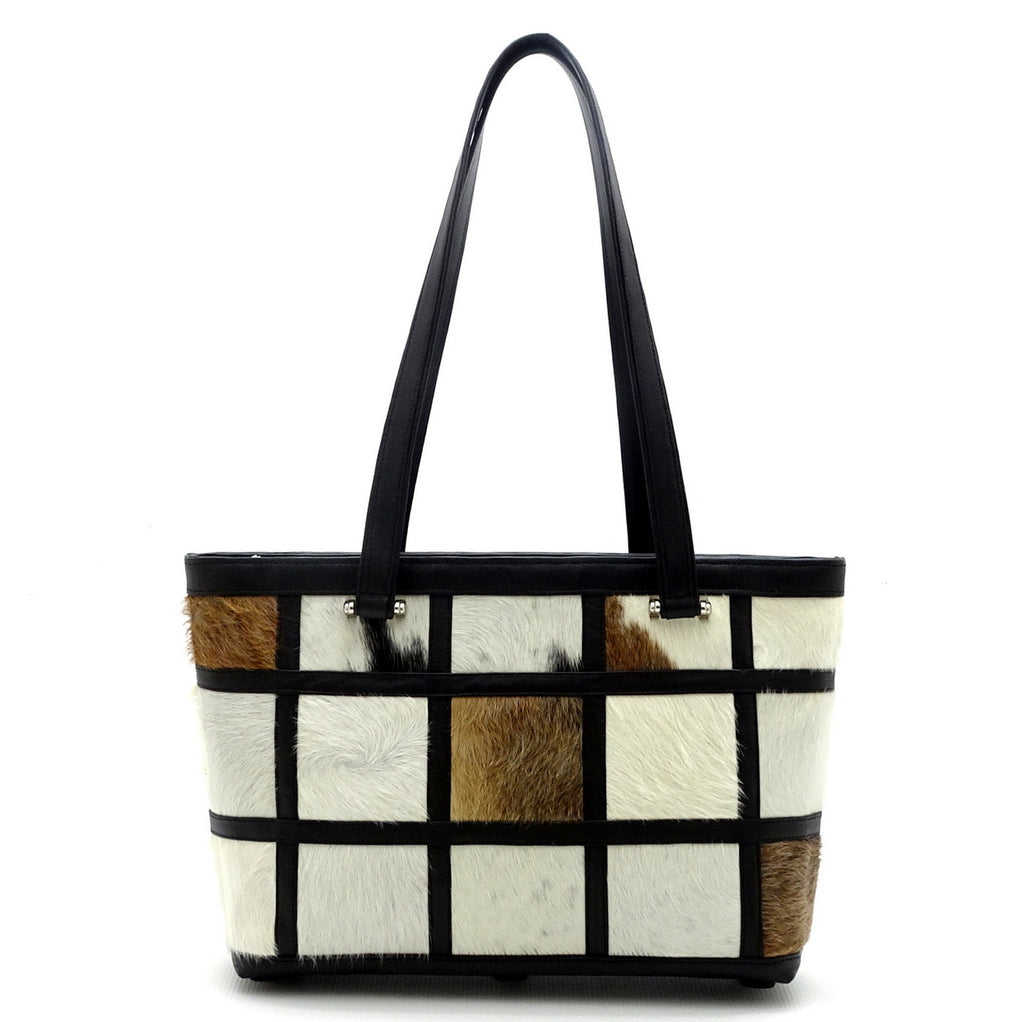 Emily  Medium Hair on hide patchwork leather tote bag shoulder straps up