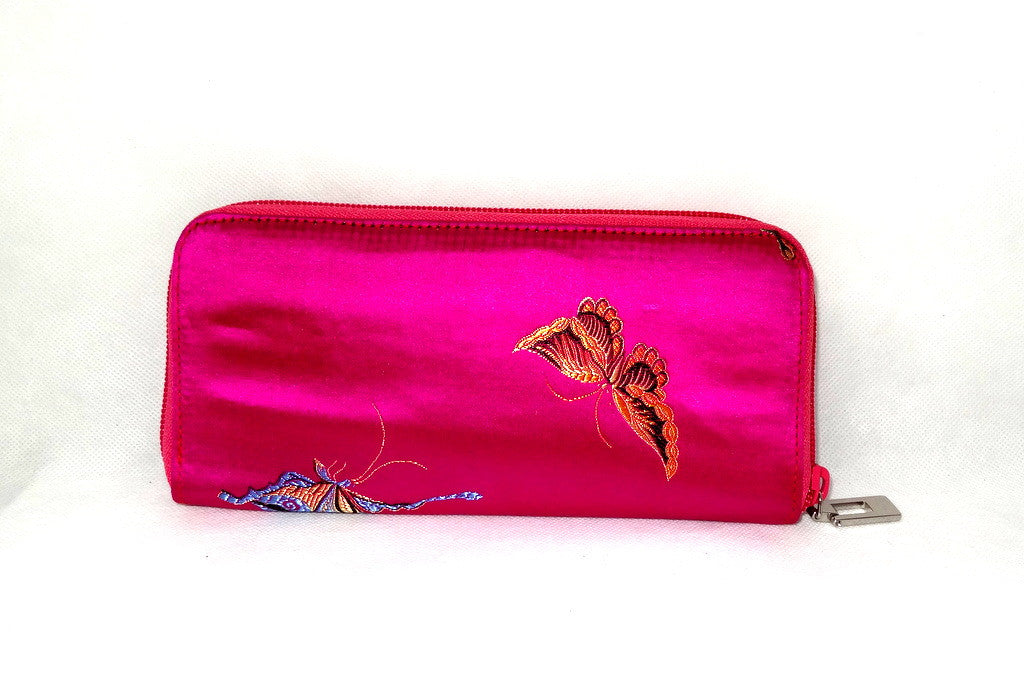 Michaela  Fuchsia fabric with metallic butterflies