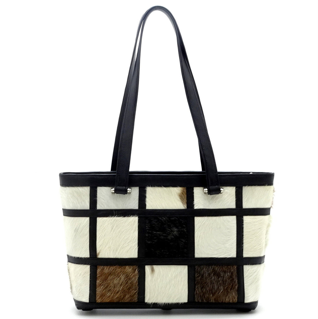 Emily  Medium Hair on hide patchwork leather tote bag showing shouder strap drop